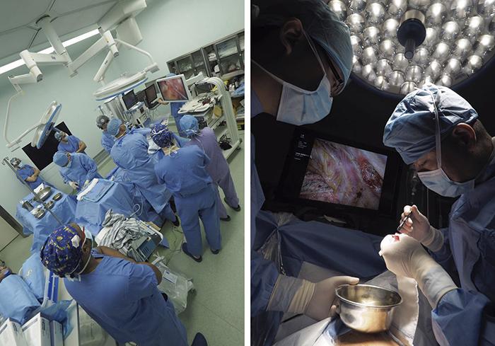 Dr. Gonzalez-Rivas (Spania) opererer assistert av dr. Firas Abu Akar (Israel).
