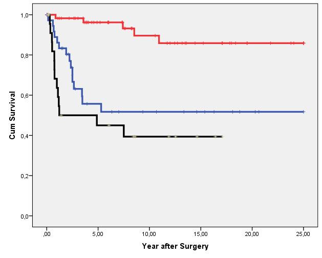 Figur 2B viser forskjellen i kreftspesifikk overlevelse mellom Ta/T1 svulster (rød linje), T2-svulster (blå linje) og T3-4 svulster (svart linje). Forskjellen er statistisk signifikant (p<0.001, 2DGF, Log Rank).