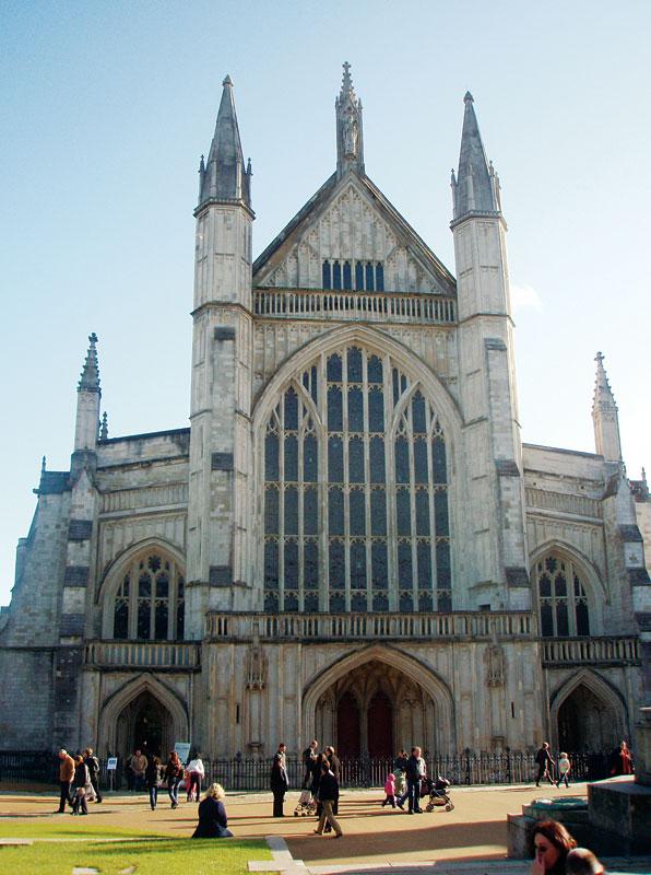 Den gotiske katedralen i Winchester.