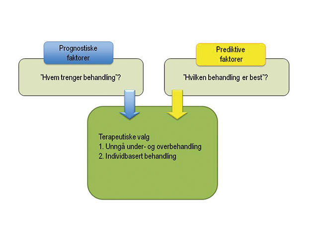 Figur 2. Betydningen av prognostiske og prediktive faktorer i adjuvant behandling av brystkreftpasienter. Adjuvant behandling har kurativ hensikt (modifisert etter [4]).