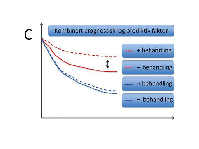 Figur 3. Illustrerende overlevelseskurver (Kaplan-Meier plot) angir tid på x-aksen og % overlevelse (sykdomsfri eller total) på y-aksen. C. Kombinert prognostisk og prediktiv behandling hvor behandlingen kun har effekt i sub-gruppen som utrykker faktoren. Merk at behandlingen gav effekt i den sub-gruppen som i utgangspunktet hadde best prognose (eks. Østrogen reseptor positive svulster og effekt av tamoxifen)