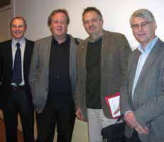 Bilde 1. Foredagsholdere ved det første nasjonale møte NGFs Interessegruppe for pancreassykdommer. Fra venstre: Truls Hauge, Bjørn Edwin, Johan Permert og Ivar Gladhaug