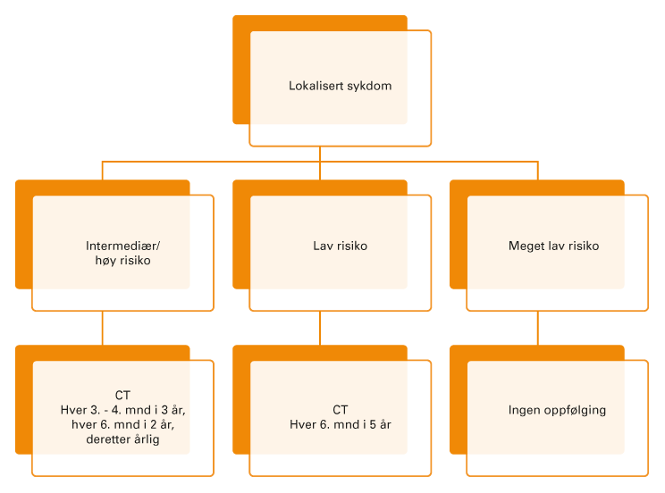 Figur 2. Et forslag til oppfølging etter kirurgisk behandling av begrenset GIST sykdom.