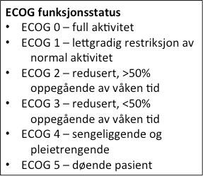 Figur 3. ECOG funksjonsstatus bør brukes til å beskrive pasientens funksjonsstatus. Funksjonsstatus >2 tilsier som regel at aggressiv behandling ikke er indisert.