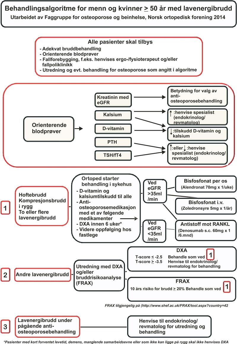 Figur 2. Forslag til behandlingsalgoritme for pasienter med lavenergibrudd > 50 år. Utarbeidet av faggruppe for osteoporose og benhelse i Norsk ortopedisk forening 2014.