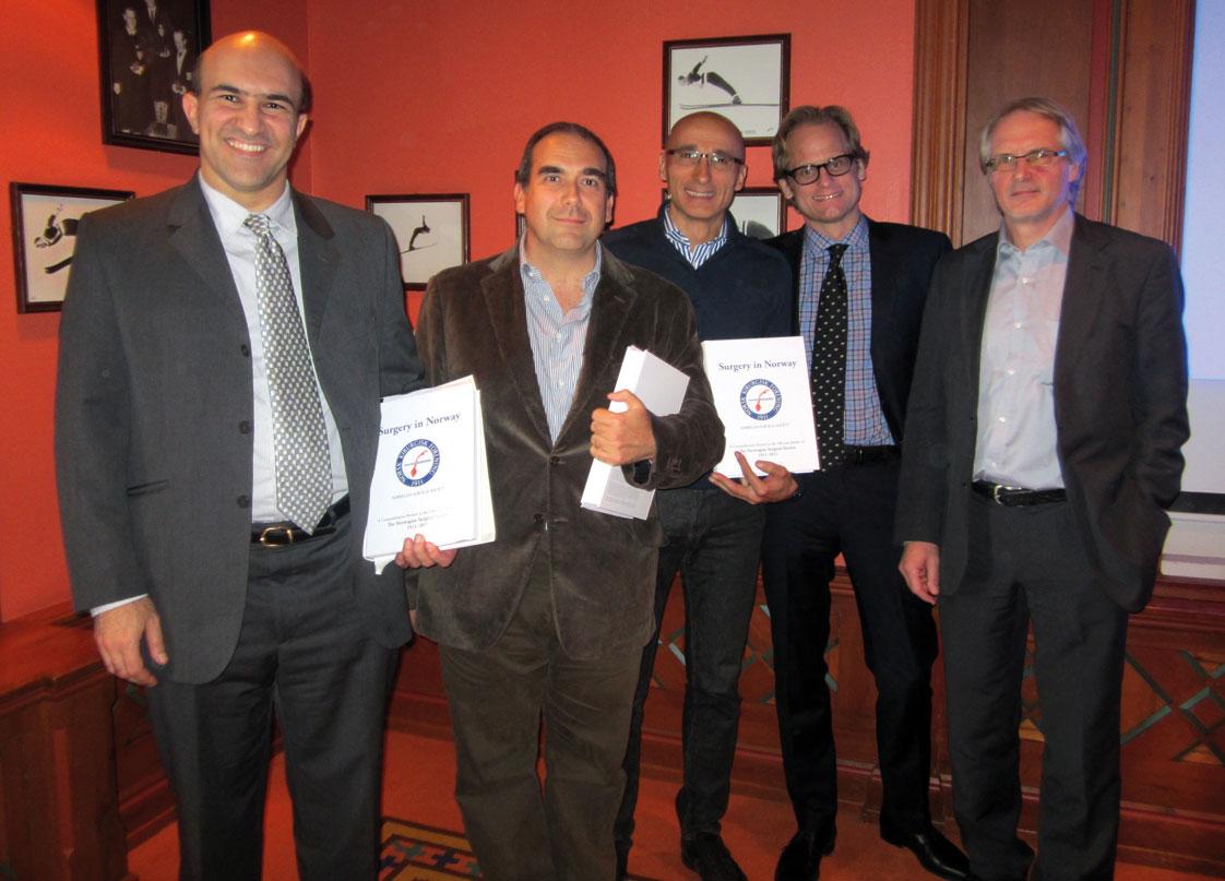 Bilde 1: Noen av foredragsholderne, fra venstre: Nawwar Al Attar, Nicola Vitale, Massimo Lemma, Anders Jønsson og leder NKTF Rune Haaverstad.