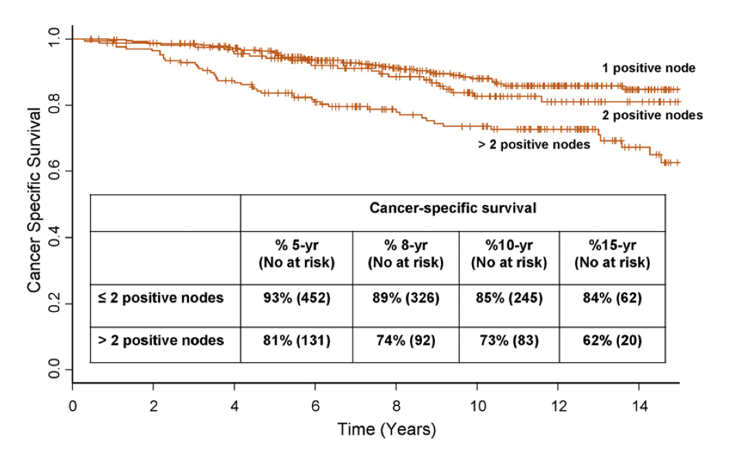 Figur 1: Briganti et al. Two positive nodes represent a significant cut-off value for cancer specific survival in patients with node positive prostate cancer. European Urology 2009.